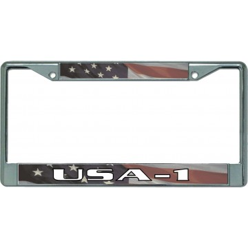 American Flag USA-1 Chrome License Plate Frame
