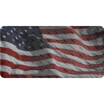 Transparent American Flag Diamond Plate Flat Photo License Plate