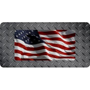 American Flag On Diamond Plate Flat Photo License Plate