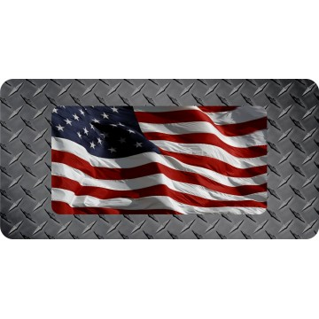 American Flag On Diamond Plate Flat Photo License Plate
