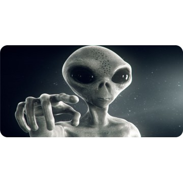 Alien Pointing Finger Photo License Plate
