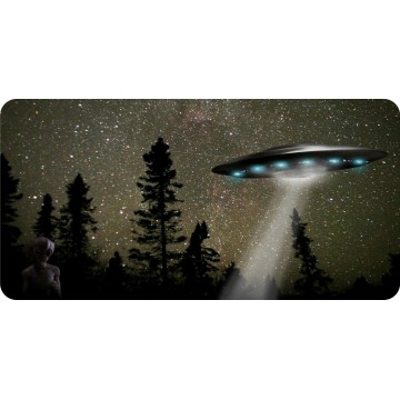 Alien Spaceship Beaming Down Photo License Plate