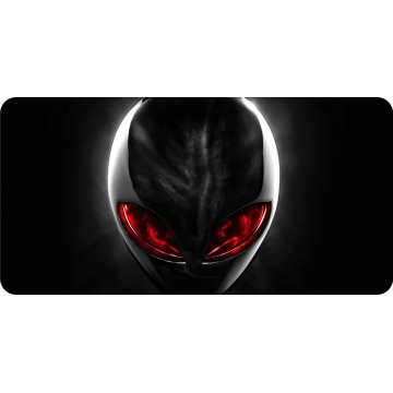 Alien With Red Eyes Centered Photo License Plate