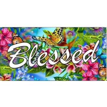 BUTTERFLY GRAPHICS Chrome//Black Metal Auto License Plate Frame Car Tag Holder