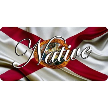 Native On Florida State Flag Photo License Plate
