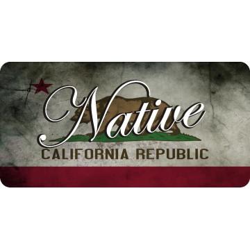Native On California Republic Flag Photo License Plate