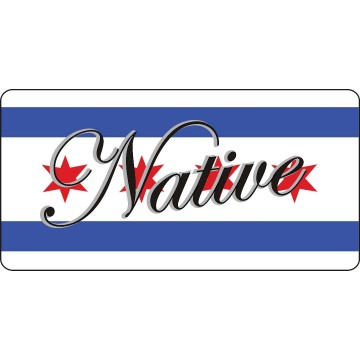 Native On Municipal Flag of Chicago Photo License Plate