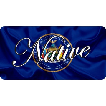 Native On New York State Flag Photo License Plate