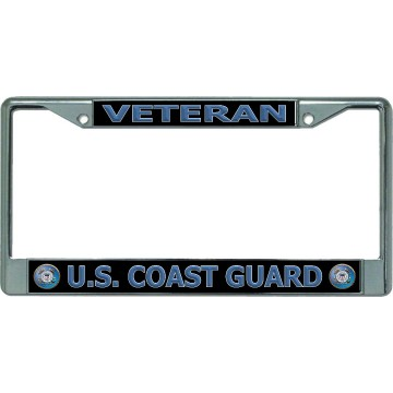 U.S. Coast Guard Veteran Chrome License Plate Frame