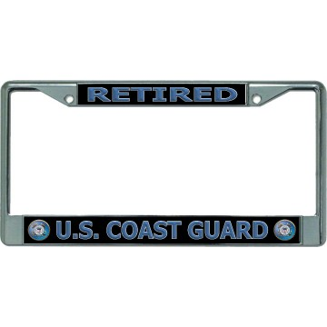 U.S. Coast Guard Retired #2 Chrome License Plate Frame