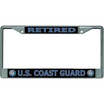 U.S. Coast Guard Retired #2 Chrome License Plate Frame