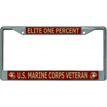 Elite One Percent U.S. Marine Corps Veteran Chrome License Plate Frame