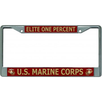 Elite One Percent U.S. Marine Corps Chrome License Plate Frame