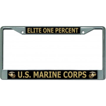 Elite One Percent U.S. Marine Corps #2 Chrome License Plate Frame