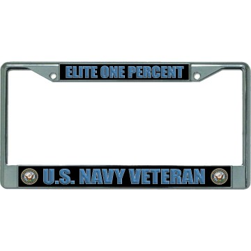 Elite One Percent U.S. Navy Veteran Chrome License Plate Frame