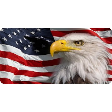 Bald Eagle On Wavy American Flag Photo License Plate