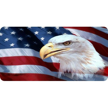 Bald Eagle On Wavy American Flag #2 Photo License Plate