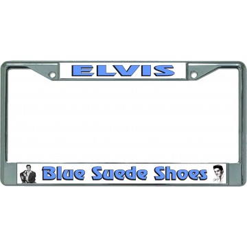 Elvis Blue Suede Shoes Chrome License Plate Frame