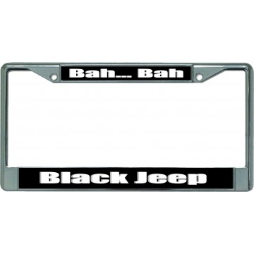 Bah Bah Black Jeep Chrome License Plate Frame