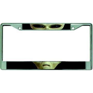 Alien Face Split Chrome License Plate Frame