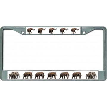 Nothing But Elephants Chrome License Plate Frame