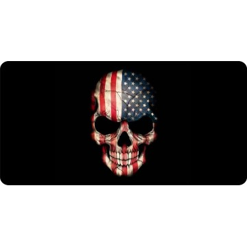 American Flag Skull Photo License Plate