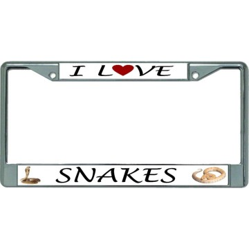 I Love Snakes Chrome License Plate Frame
