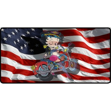 Biker Betty Transparent Logo On Flag Photo License Plate