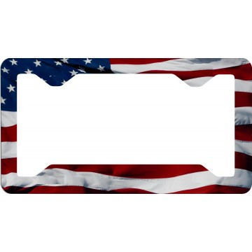 American Flag Wavy Thin Style License Plate Frame