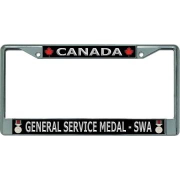 Canada General Service Medal-SWA Chrome License Plate Frame