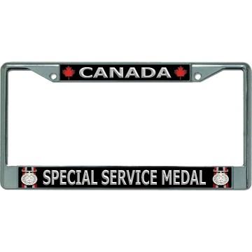 Canada Special Service Medal Chrome License Plate Frame
