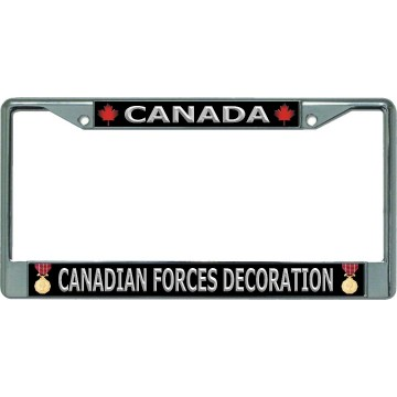 Canada Canadian Forces Decoration Chrome License Plate Frame