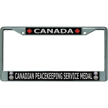 Canada Canadian Peacekeeping Service Medal Chrome License Plate Frame