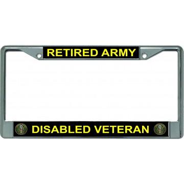 Retired Army Disabled Veteran Chrome License Plate Frame