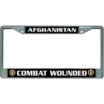 Afghanistan Purple Heart Combat Wounded  Chrome License Plate Frame