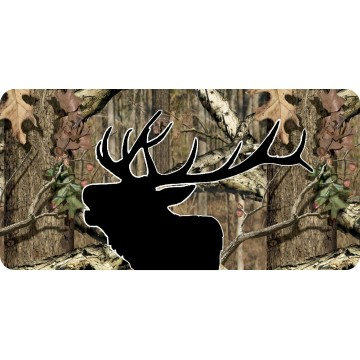 Elk Head Black Silhouette On Camo Photo License Plate