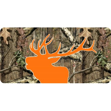 Elk Head Orange Silhouette On Camo Photo License Plate