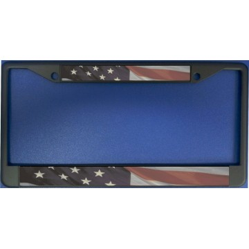 American Flag Split On Black License Plate Frame