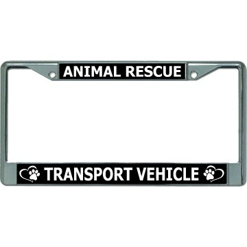 Animal Rescue Transport Vehicle Chrome License Plate Frame