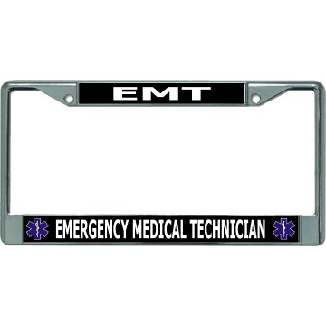 EMT Emergency Medical Technician Chrome License Plate Frame
