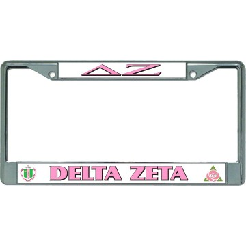 Delta Zeta Chrome License Plate Frame