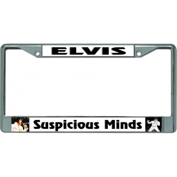 Elvis Suspicious Minds Chrome License Plate Frame