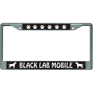 Black Lab Mobile Chrome License Plate Frame