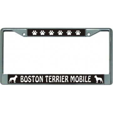 Boston Terrier Mobile Chrome License Plate Frame