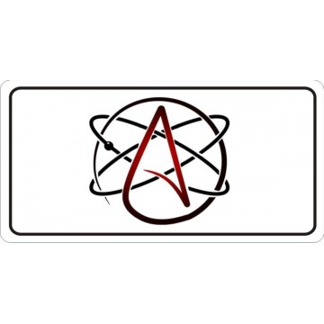 Atheist Atomic Whirl On White Photo License Plate