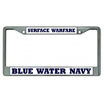 Blue Water Navy Surface Warfare Chrome License Plate Frame