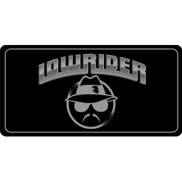 Lowrider Logo On Black Photo License Plate