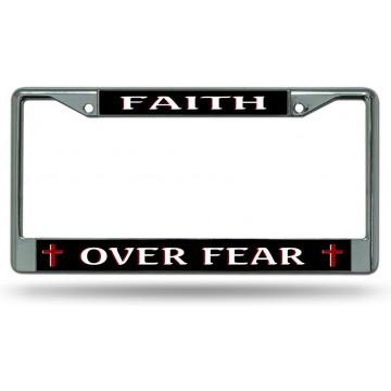 Faith Over Fear #2 Chrome License Plate Frame
