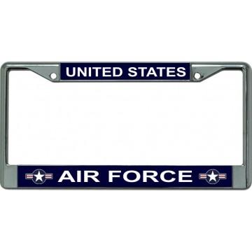 Air Force Star Logo Chrome License Plate Frame
