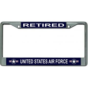 Air Force Retired Star Logo Chrome License Plate Frame